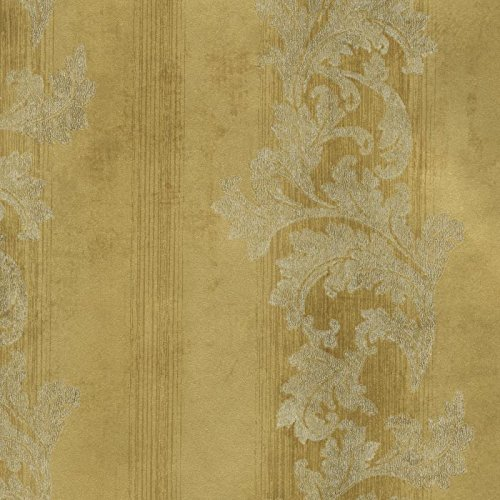 York Wallcoverings GF0814 Gold Leaf Acanthus Stripe Wallp...