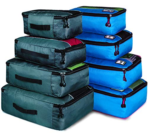 (8 Set Packing Cubes, Travel Luggage Bags Organizers Mixed Color Set(Grey/Blue))
