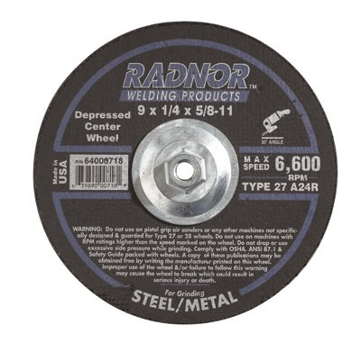 Radnor 64000718 9'' X 1/4'' X 5/8'' - 11 A24R Aluminum Oxide Type 27 Depressed Center Grinding Wheel For Use With Right Angle Grinder On Metal And Steel (10 PER CASE)