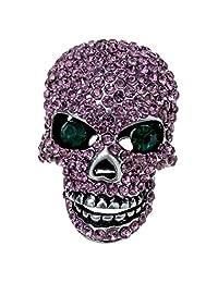Szxc Jewelry Women's Crystal Skull Pin Brooch Biker Jewelry