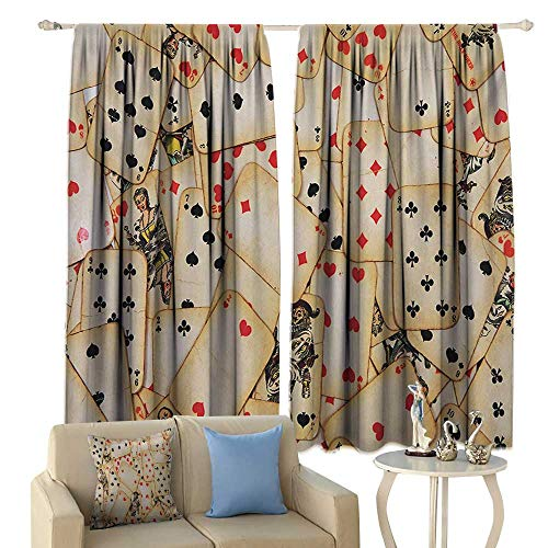 Tidefree Decor Curtains Casino Old Playing Cards Themed Vintage Classic Style Entertaining Wealth Fortune Privacy Protection Beige Red Black]()