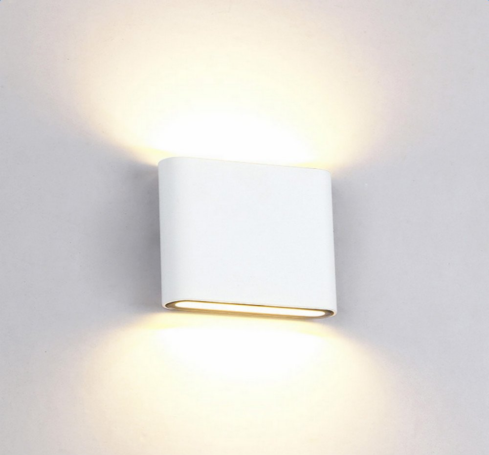 Homcasa Modern LED Wall Lights Waterproof Up Down Wall Lamp Sconce Ideal for Living Room Bedroom Hallway Pathway Staircase Outdoor 12W IP65 Aluminium, Warm White [Energy Class A++] (Style 12)