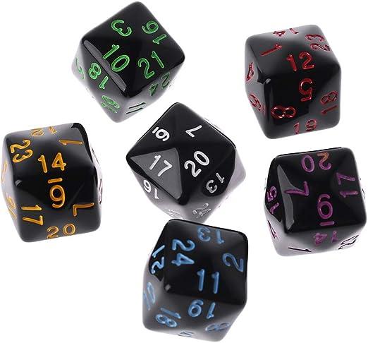 Kuvuiuee - Juego de 6 cubos de juego, 6 lados, D6, 24 puntos, para escritorio, juegos de mesa de poliedras, para fiestas, divertidos, juegos creativos: Amazon.es: Hogar