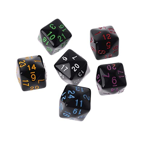 6 Pcs//Set Dice 6 Sided D6 24 Points Table Games Party Funny Play Creative Dices