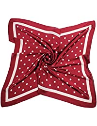 Women's Square Silk Like Scarves Vintage Dots Head Scarf 27inch