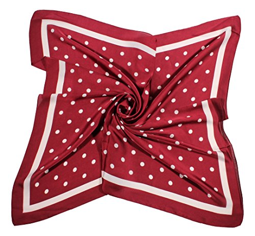 - Jaweaver Women's Square Silk Like Scarves Vintage Dots Head Scarf 27inch (Burgandy)