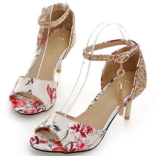 Ankle Coolcept Elegant Floral Shoes Strap Sandal Red Women v7AwAqE