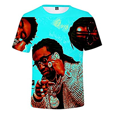 HLOV 3D Print Rap Group Migos T-Shirt Hip Hop Tee for Men and Women Short Sleeve O-Neck Shirt Tops
