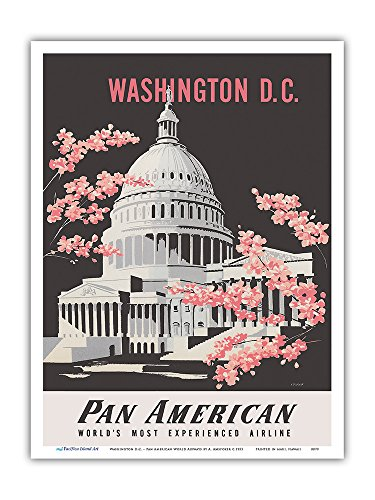 Washington D.C. - Pan American World Airways - United States Capitol Building - Vintage Airline Travel Poster by A. Amspoker c.1955 - Master Art Print - 9in x ()