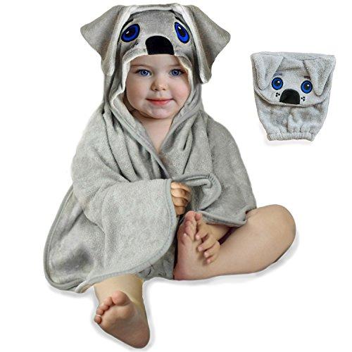 Hooded Baby Towel & Washcloth Glove - Soft Bamboo for Baby Boy Girl Newborns Toddlers Bath Set 0-24M
