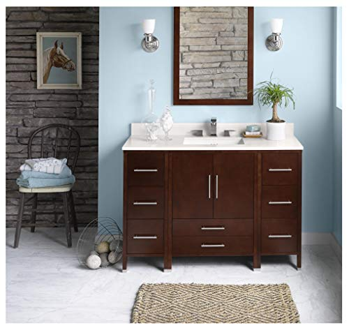 - RONBOW Essentials Juno 48 Inch Bathroom Vanity Cabinet Base in Dark Cherry Finish, with Soft Close Wood Doors and Full Extension Drawers 039248-3-H01
