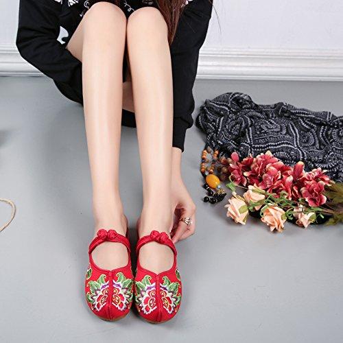 Icegrey Pointé Sabots Femme Fait Main Broderie Fleur Compensé Wedge Pantoufles Plates avec Nœud Rouge 35