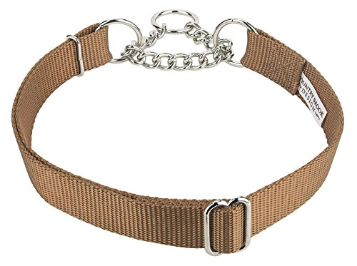 Country Brook Design | Half Check Nylon Dog Collars-Coyote Tan-L