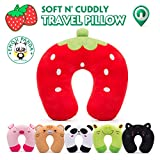 Child Travel Pillow Kids HOMEWINS Neck Support Cushion Ultra Soft Cervical Pillow Animals Neck Pain Sleep for Car Seat TGV Plane - Strawberry