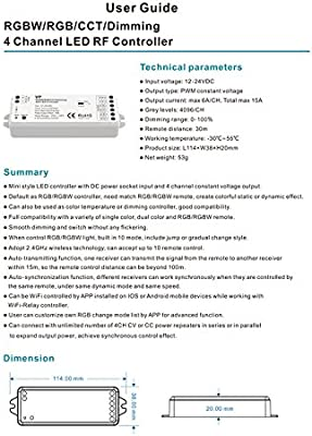 4 Channel LED RF Controller RGBW/RGB/CCT/Dimming