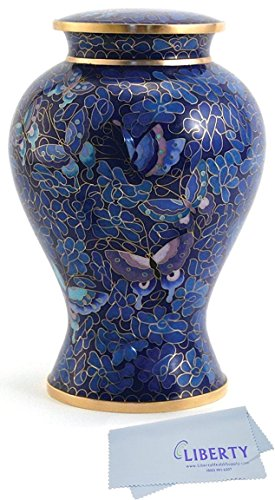 Hand Crafted Cloisonne Etienne Butterfly Memorial Urn -Large - Includes FREE Liberty Microfiber Cloth