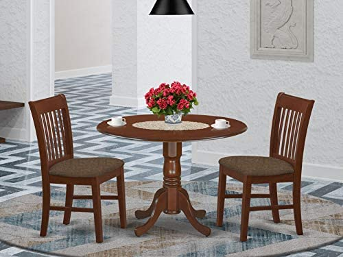 East West Furniture DLNO3-MAH-C 3-Pc kitchen table set Mahogany finish