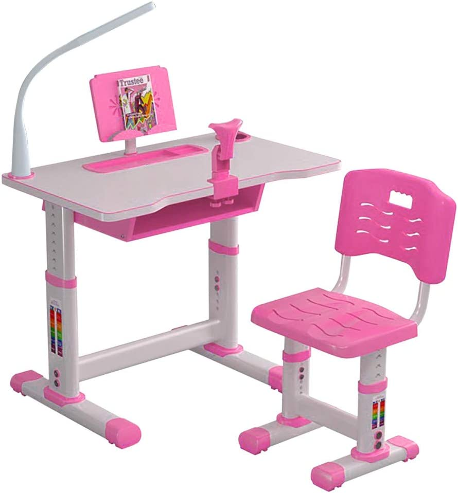 Kids Desk, Children Study Table, Height Adjustable Childrens Desk and Chair Set, Childs Desks W/Lamp, Students Writing Desk Desktop Storage Drawer Tables for Boys & Girls