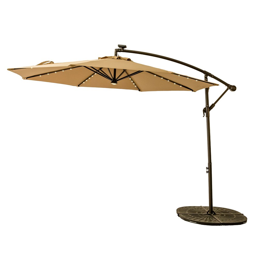 C-Hopetree 10ft Solar Power LED Offset Cantilever Patio Umbrella, Hanging Outdoor Umbrella with LED Lights, Crank Winder, Large Round, Beige by C-Hopetree