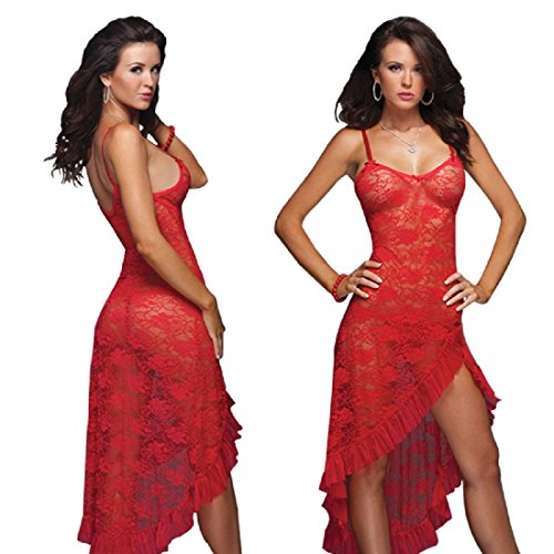 HiSexy Women's Sexy Boudoir Lingerie Set Long Adjustable Strappy Dress See-Through Lace Negligee Chemise Red L
