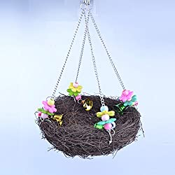 Parakeet Stand Swing Bells Finch Lovebird Nest Parrot Rest Hanging Weave Natural Rattan Basket Cage Climbing Toy Conure Cockatoo Macaw Hang Standing Bell Prech Chew Toys (L)