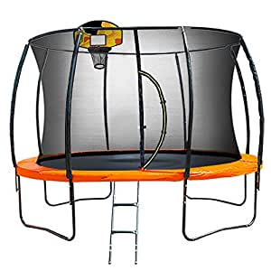 Kahuna Trampoline 10 ft with Basketball Set Outdoor Round Pad Mat Net Ladder Spring- Orange