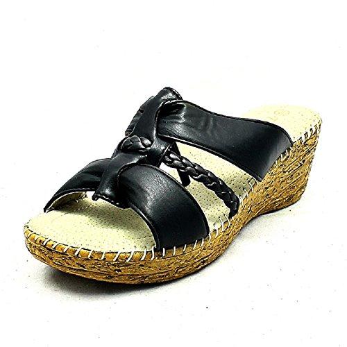 Mesdames Noir confort sandales amorti talon compensées HrqSHPW6w