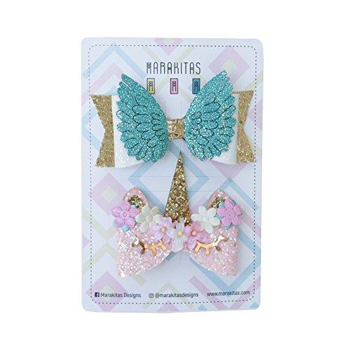 Marakitas Unicorn Handmade Hair Bows - Toddler & Girl – Unicorn Themed Birthday Party Gift -