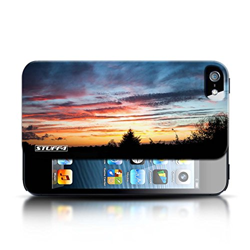 Etui pour Apple iPhone 5/5S / Orange et bleu conception / Collection de Coucher du Soleil