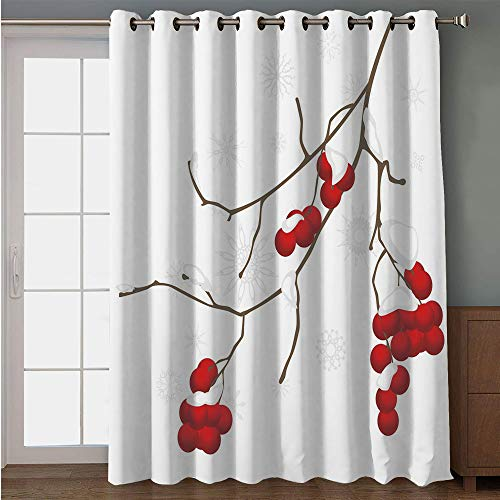 iPrint Blackout Patio Door Curtain,Rowan,Artistic Branch of Rowan Plant Covered with Snow Winter Season Christmas Tree Decorative,Red White Umber,for Sliding & Patio Doors, 102
