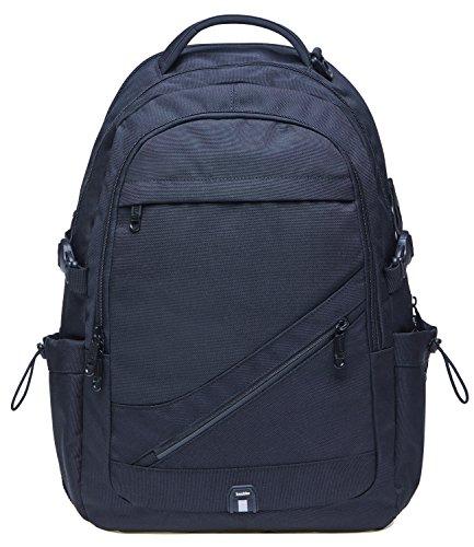 KAUKKO Vintage Canvas Backpack Travel Hiking Satchel Stylish Rucksack with Inner Compartment (Black-KC03)