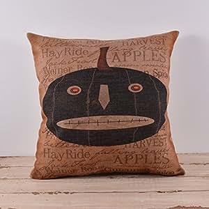 B Lyster shop Cotton Linen Decorative Throw Pillow Case Cushion Cover Halloween All Hallows' Eve Lantern Pumpkin Skull pillow cases 18 x 18