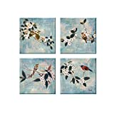 Dzhan Wall Art for Living Room Canvas Prints Landscape Paintings The Bird and Flowers of Modern Abstract Ready to Hang Home Decoration 13x13inches 4pcs