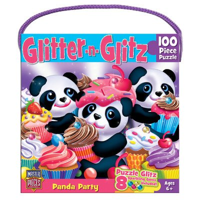 MasterPieces Glitter and Glitz Panda Party Jigsaw Puzzle, 100-Piece
