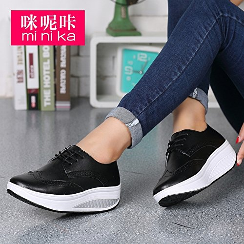round Color Breathable Head Women Pine Sports Leisure Shoes Surface Shallow Leather Shaking black EUR35 Pure Mouth Shoes BTqwdn5w