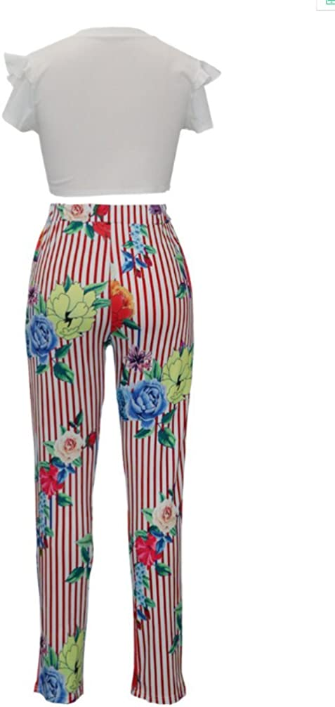 DINGANG Womens Floral Printed Short Sleeve Crop Top Letter Print Long Pants 2 Piece Outfits Jumpsuit with Belt