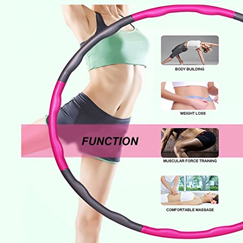 Buyoung Weighted Hula Hoops for Exercise Kids Adults,Burning Fat and Sweating Hula Hoop Weighted Professional Foam Fitness Hula Hoops 2lb