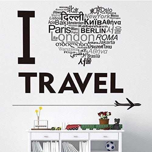 LetS Diy(TM I Love Travel Vinyl Wall Stickers Home Decor DIY Black Wall Art Decals Removable Sticker Living Room