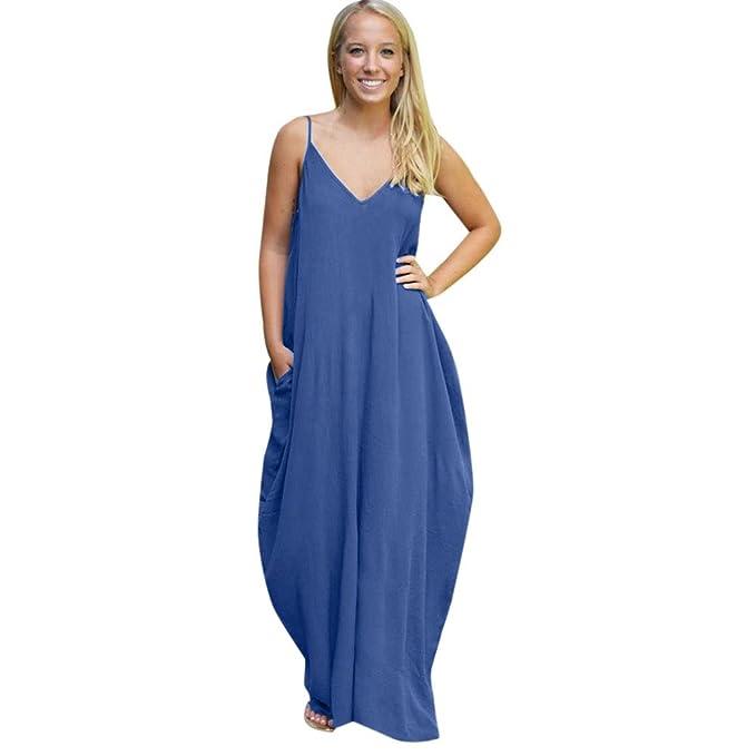 QUICKLYLY Vestido Hippie Boho Maxi Mujer Verano Cóctel Fiesta Playa Largo (S, Azul Marino
