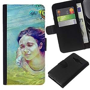 NEECELL GIFT forCITY // Billetera de cuero Caso Cubierta de protección Carcasa / Leather Wallet Case for Samsung Galaxy Core Prime // Cute Girl Pintura Buceo