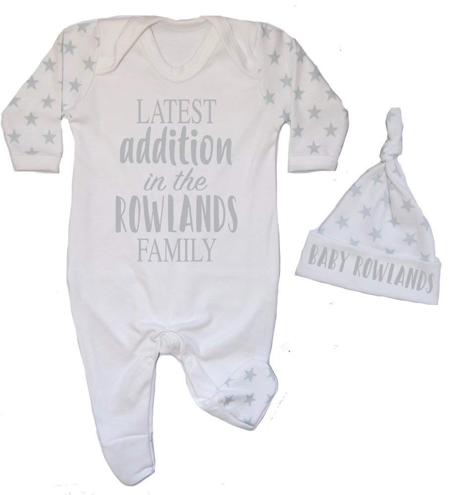 Personalised Latest Addition in the Surname Family Star Contrast Baby Romper Babygrow New Baby Gifts Newborn baby Gifts Personalised Babywear Hospital Outfit
