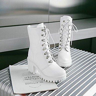 Heart&M Damen Stiefel Komfort Neuheit Springerstiefel Frühling Winter Kunstleder Normal Schnürsenkel Blockabsatz Weiß Schwarz Grau 7,5 - 9,5 cm white