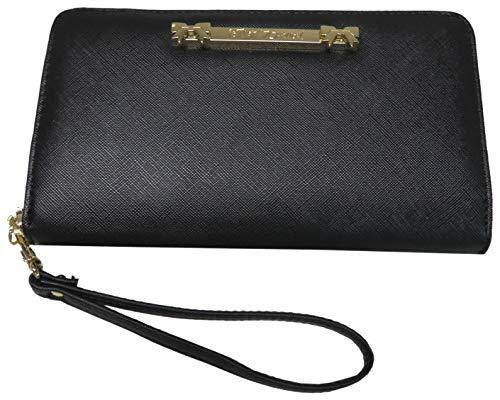 Betsey Johnson Zip Around Wristlet/Wallet, Black (Johnson Card Holder Betsey)