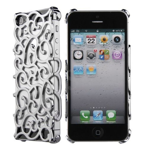 itronik IPhone 5 VIP STRASS Designer Cover Orient chrom LOOK case hülle schale bling - Silber