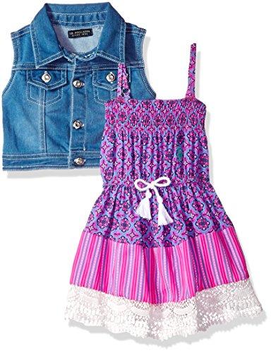U.S. Polo Assn. - Vestido para niña con suéter o chamarra, Printed Rayon Tassel Lace Trim Multi, 18 meses