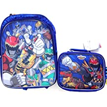 Power Rangers Dino Super Charge 16 Lenticular Backpack Book Bag with Lunch Bag Set