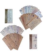 Scrapbook Materiaal Papier Set Vintage Sticker Scrapbookpapier Stempel Huidige Gebeurtenissen Decoratief Papier voor Laptop Envelop Notebook Bullet Journals Planner Kaarten Maken 120 Stuks