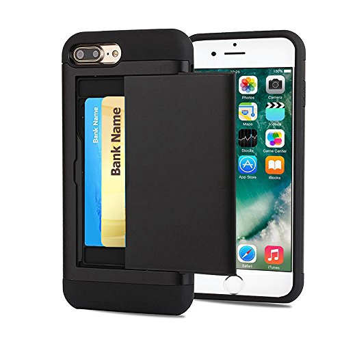 iPhone 7 Plus Case, Cellaria [Easy Card Access] Sliding Back Door Card Holder Wallet Case - Hybrid TPU PC Cover - For iPhone 7 Plus (5.5 inch), Black (Sliding Door Cases)
