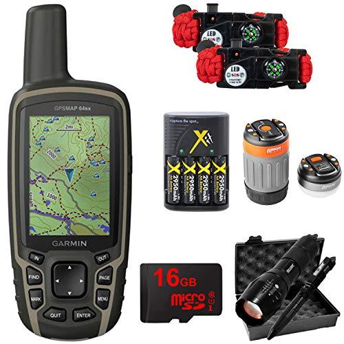 - Garmin GPSMAP 64sx Handheld GPS with 16GB Camping & Hiking Bundle - (010-02258-10)