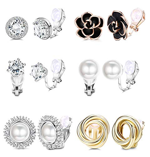 YADOCA 6 Pairs Clip Earrings for Women Rose Flower CZ Simulated Freshwater Pearl Twist Knot Non Pierced Clip On Earrings…